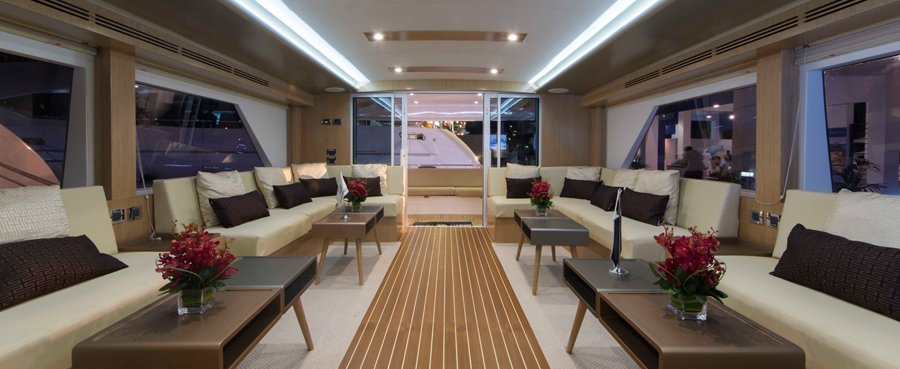 Luxury boat saloon