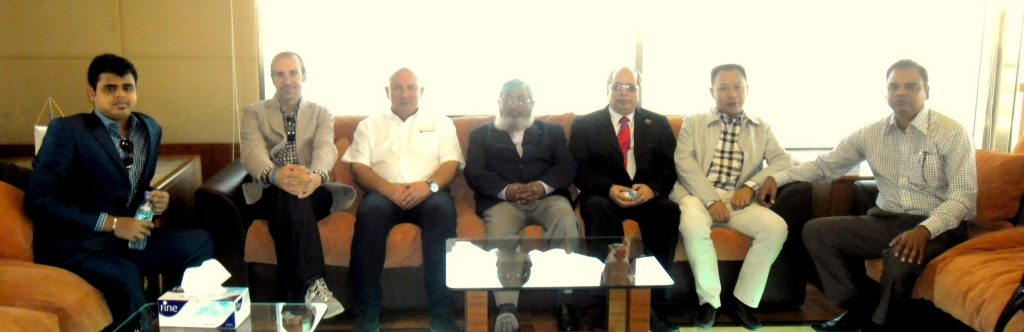 From left to right: Mr. Robin Kamal (Director at Golden Fiber Glass), Mr. Toufic Hobeika (Managing Partner at Smart Own) , Mr. Notis Menelaou (Sales Manager at Gulf Craft), Mr. Khandker Anwarul Islam , (Honorable Secretary at the Ministry of Road Transport and Bridges), Mr. Shafiquil Islam (Project Manager Padma Multipurpose Bridge Project) Mr. Ran Xiaolin (Deputy Project Manager at MBEC), Mr. Mostafa Kamal (General Manager Golden Fiber Glass).